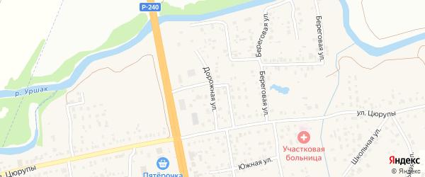 Дорожная улица на карте села Булгаково с номерами домов