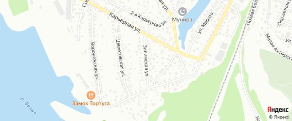 Зилимская улица на карте Уфы с номерами домов