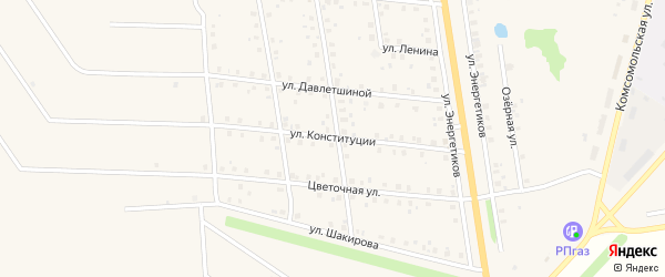 Улица Конституции на карте села Старобалтачево с номерами домов