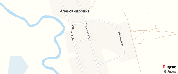 Нижняя улица на карте села Александровки с номерами домов