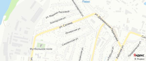 Инзерская улица на карте Уфы с номерами домов