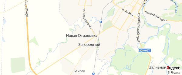 Карта Отрадовского сельсовета республики Башкортостан с районами, улицами и номерами домов