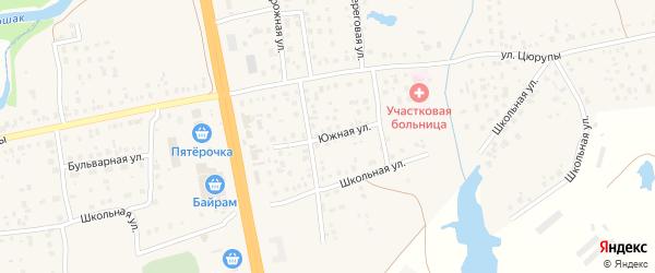 Южная улица на карте села Булгаково с номерами домов
