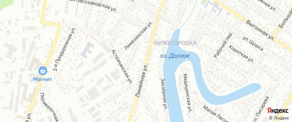 Линейная улица на карте Уфы с номерами домов