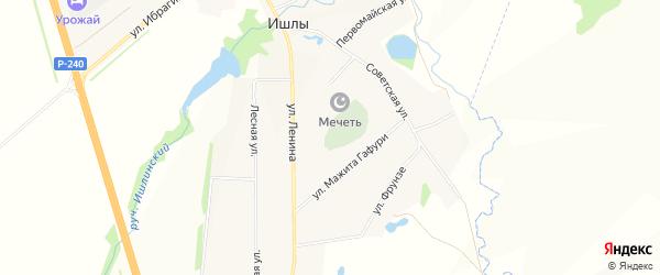 Карта села Ишлы в Башкортостане с улицами и номерами домов