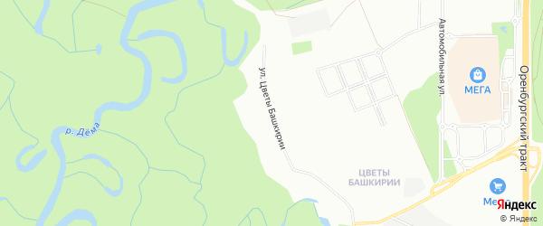 Карта населенного пункта п/л свх Цветы Башкирии города Уфы в Башкортостане с улицами и номерами домов
