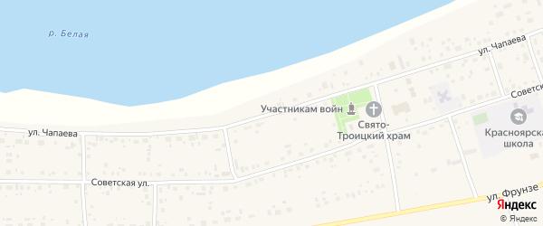 Улица Чапаева на карте села Красного Яра с номерами домов