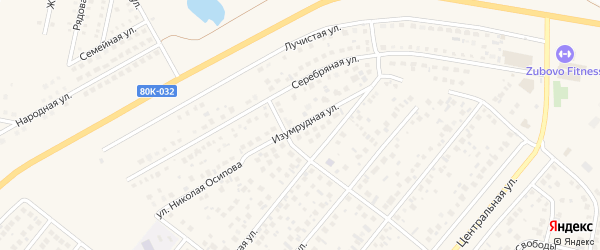 Изумрудная улица на карте села Зубово с номерами домов