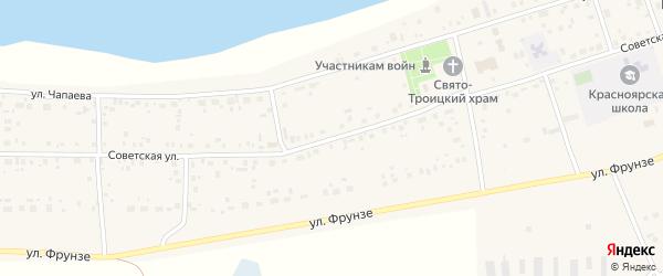 Советская улица на карте села Красного Яра с номерами домов