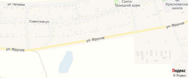Улица Фрунзе на карте села Красного Яра с номерами домов