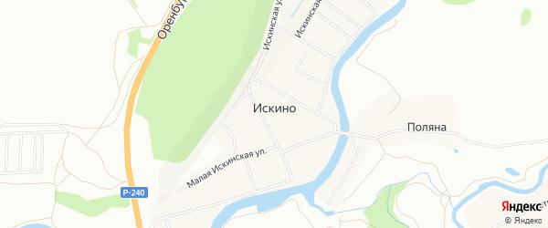 Карта деревни Искино города Уфы в Башкортостане с улицами и номерами домов