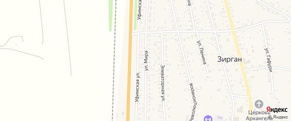 Улица Мира на карте села Зиргана с номерами домов