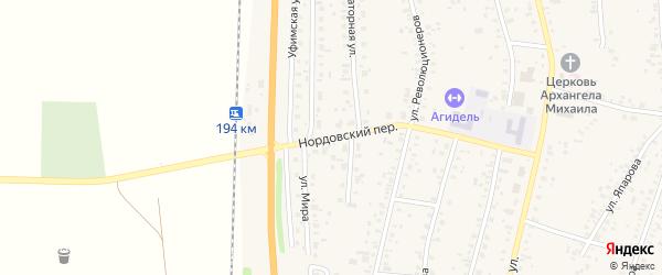 Нордовский переулок на карте села Зиргана с номерами домов