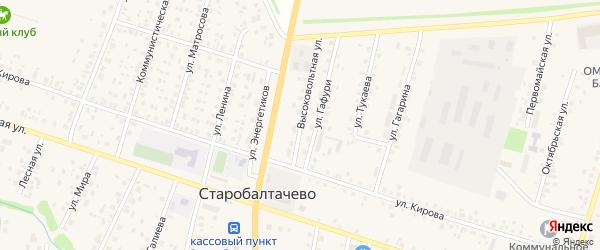 Высоковольтная улица на карте села Старобалтачево с номерами домов