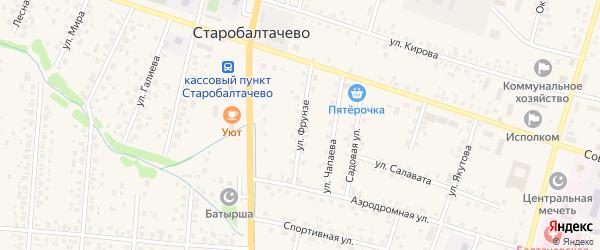 Улица Фрунзе на карте села Старобалтачево с номерами домов