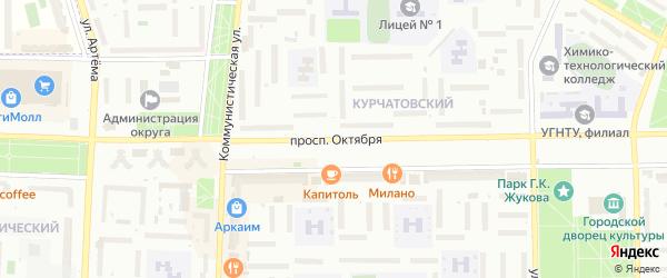 Проспект Октября на карте Стерлитамака с номерами домов