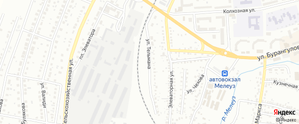 Улица Тельмана на карте Мелеуза с номерами домов