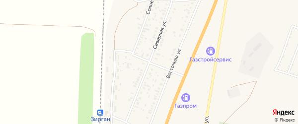 Северная улица на карте села Зиргана с номерами домов