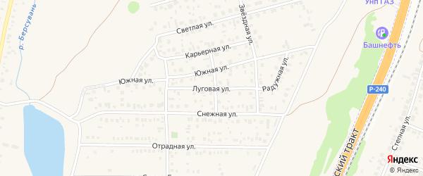Луговая улица на карте села Зубово с номерами домов