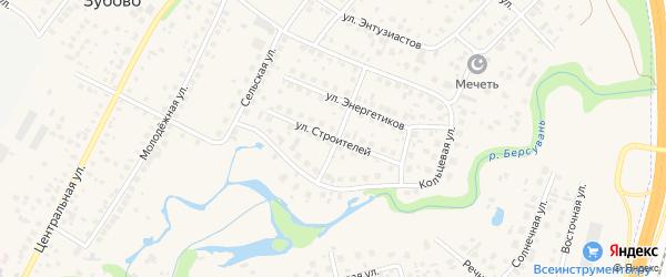 Улица Строителей на карте села Зубово с номерами домов
