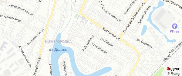 Рабочий переулок на карте Уфы с номерами домов