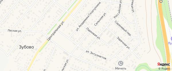 Сельская улица на карте села Зубово с номерами домов