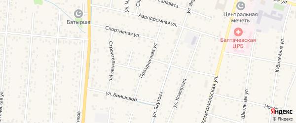 Праздничная улица на карте села Старобалтачево с номерами домов