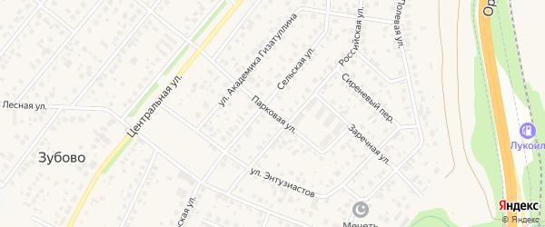 Парковая улица на карте села Зубово с номерами домов