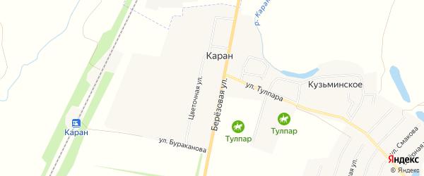 Карта деревни Карана в Башкортостане с улицами и номерами домов