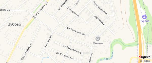 Улица Энтузиастов на карте села Зубово с номерами домов