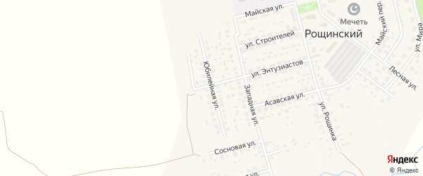 Юбилейная улица на карте села Рощинского с номерами домов