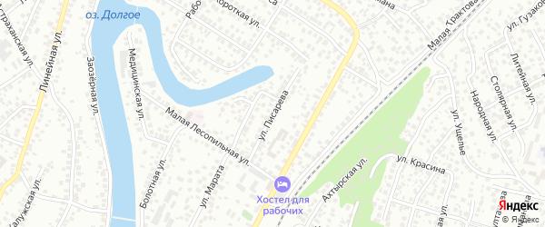 Улица Писарева на карте Уфы с номерами домов