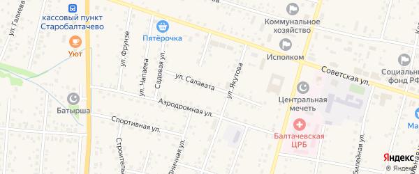 Улица Салавата на карте села Старобалтачево с номерами домов