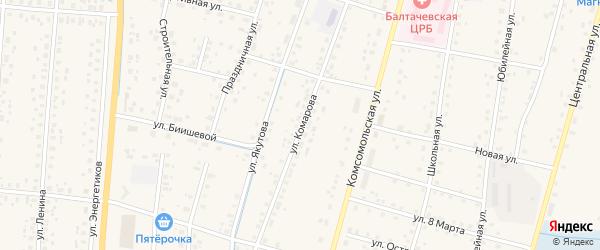 Улица Комарова на карте села Старобалтачево с номерами домов