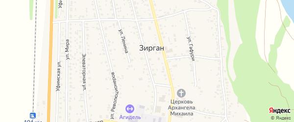 Октябрьская улица на карте села Зиргана с номерами домов