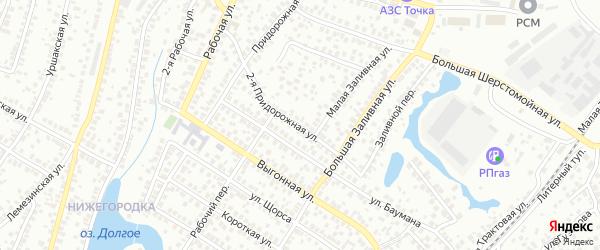 Придорожная 2-я улица на карте Уфы с номерами домов