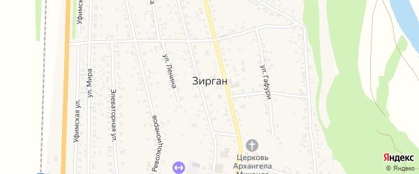 Южная улица на карте села Зиргана с номерами домов