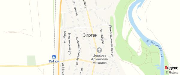 Карта села Зиргана в Башкортостане с улицами и номерами домов