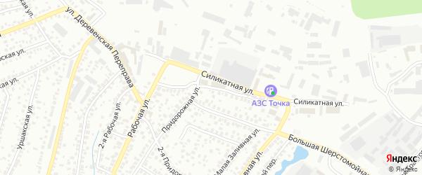 Придорожный переулок на карте Уфы с номерами домов