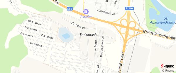 СНТ Мир сада на карте села Лебяжьего с номерами домов