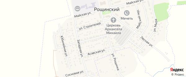 Улица Энтузиастов на карте села Рощинского с номерами домов