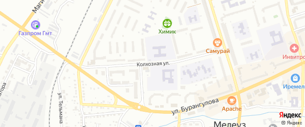 Колхозная улица на карте Мелеуза с номерами домов