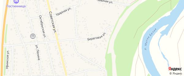 Береговая улица на карте села Зиргана с номерами домов