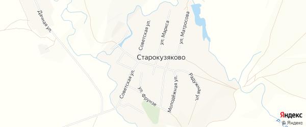 Карта деревни Старокузяково в Башкортостане с улицами и номерами домов