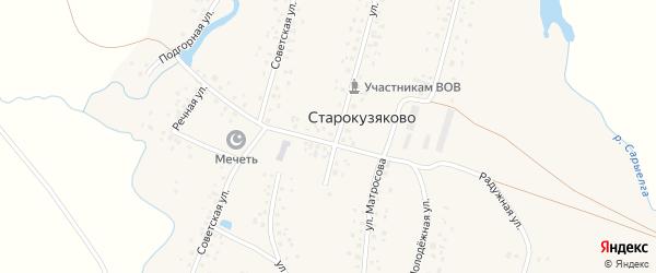 Молодежная улица на карте деревни Старокузяково с номерами домов