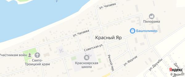 Школьный переулок на карте села Красного Яра с номерами домов