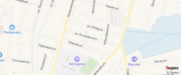 Улица Островского на карте села Старобалтачево с номерами домов