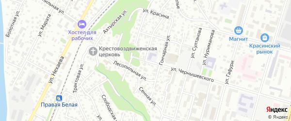 Улица Петра Комлева на карте Уфы с номерами домов