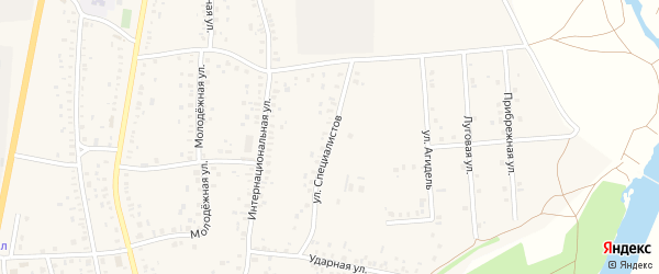 Улица Специалистов на карте села Зиргана с номерами домов