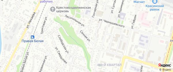 Сенная улица на карте Уфы с номерами домов